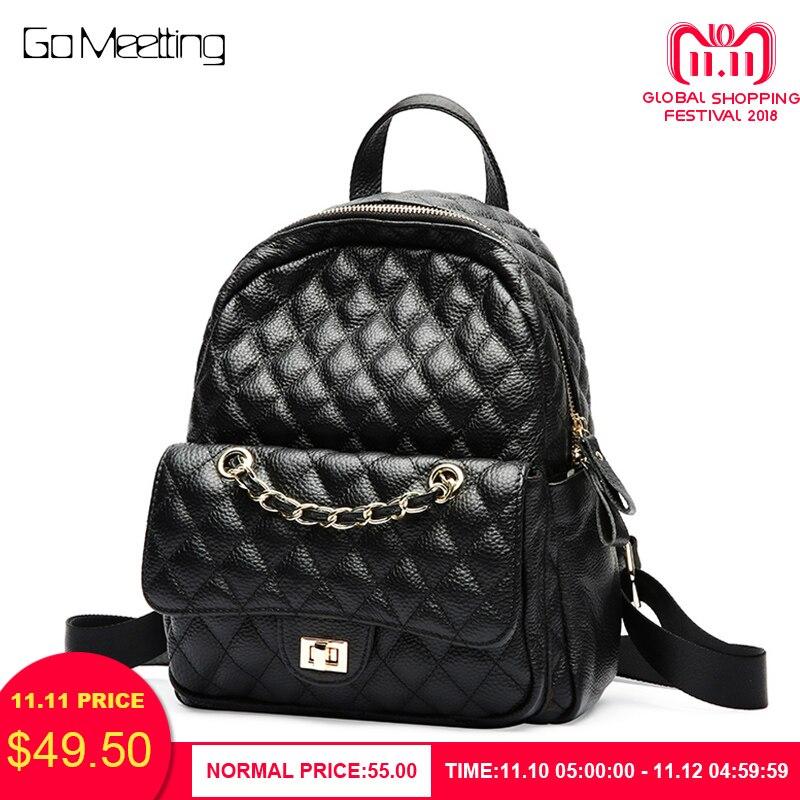 купить Go Meetting Chains Women Genuine Leather Backpack Women Female Teenage Girl Backpacks School Mochila Feminina sac a dos femme по цене 3131.99 рублей