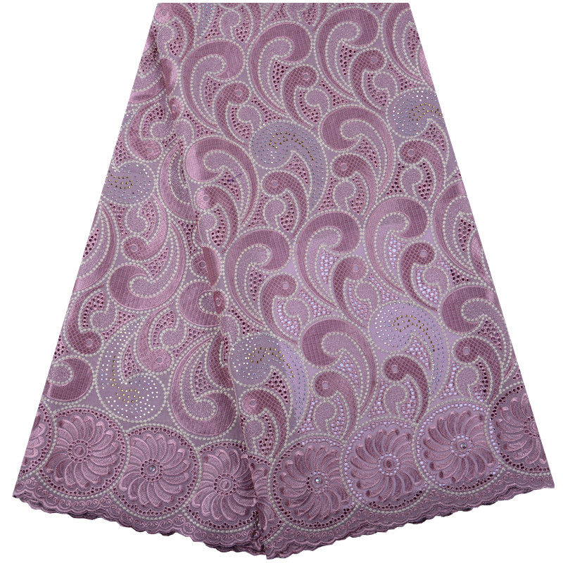 2019 Pink African Dry Lace Fabrics High Quality Cotton Lace Fabric Swiss Voile With Stones Swiss