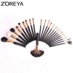 Image 5 - ZOREYA brochas de maquillaje para mujer, conjunto profesional de 24 Uds de pelo de Sable, herramienta de maquillaje para belleza