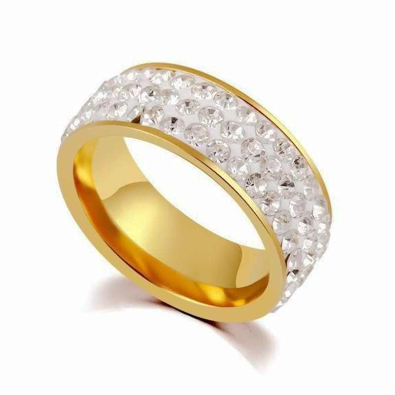 Ataullah New Fashion Stainless Steel Rings for Women And Men Three Row Drill Couple Anniversary Wedding Gift Jewelry RW010