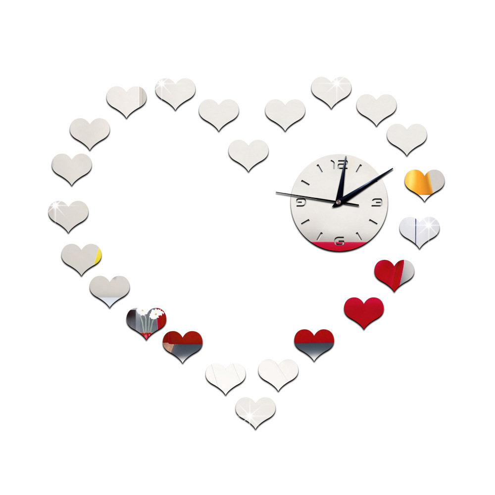 Aliexpress.com : Buy DIY Heart Mirror wall clock sticker for ...