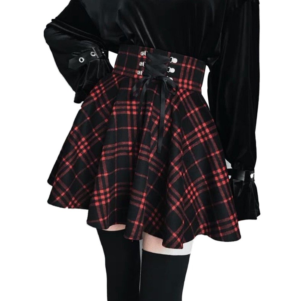 New Skirts Plus Size 4XL Vintage Plaid Skirt Women High Waist A Lined 2019 Spring Ribbon Lacing Mini Skirt for Gothic Girls