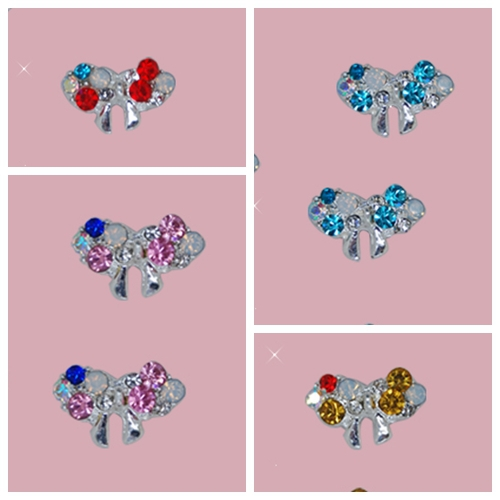 40pcs 4 designs Assorted Style Beautiful butterfly Konad Nail decoration Silver Alloy Rh ...