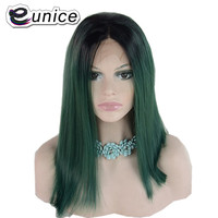 Eunice Hair Synthetic Lace Front Wig Ombre Dark Roots To Pink/Green Color Silky Straight BOB Hairstyle Women Wigs 14 150density