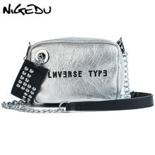 NIGEDU Luxury mini flap bag women chains Crossbody bag Fashion Designer rivet girls Handbag female Shoulder bag Clutch wallet rivet detail flap handbag