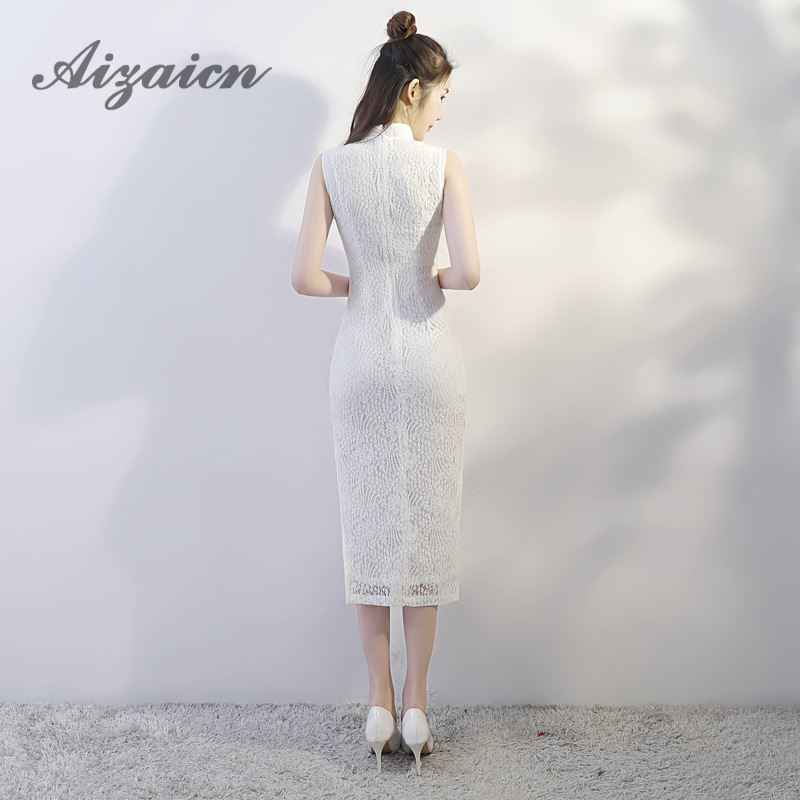 Evening Dress 2018 White Lace Cheongsam Sexy Sleeveless Qipao Wedding Party Dresses Elegant Chinese Traditional Dress Vestido in Cheongsams from Novelty Special Use