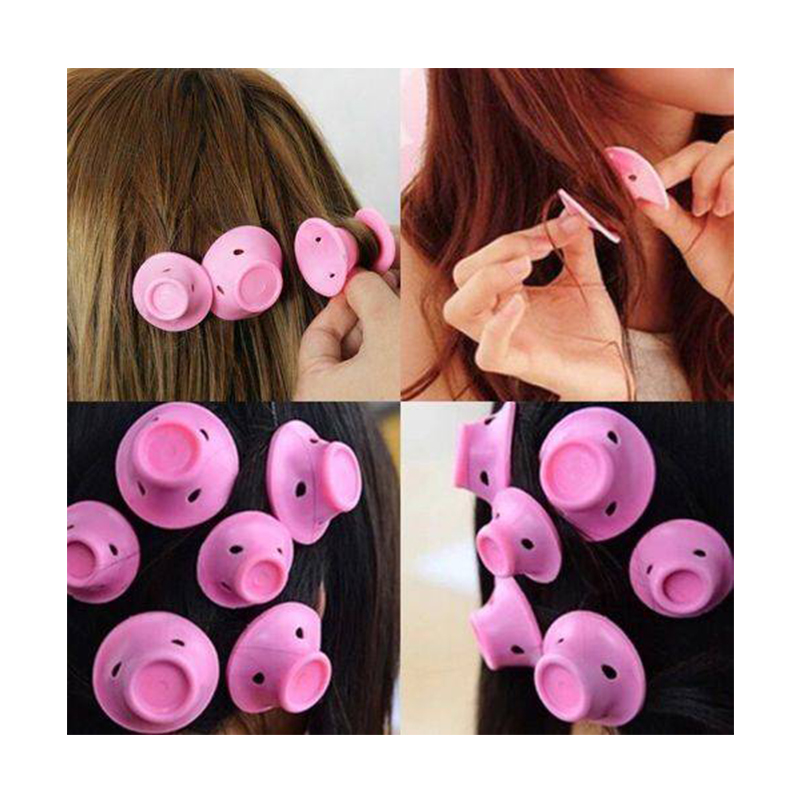 Купить с кэшбэком 10pcs Soft Rubber Pink curls magic  hair curlers Care Rollers Silicone hair curlers rollers No Heat Hair Styling curler Tool