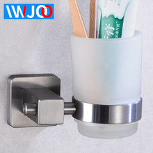 Cup Tumbler Holders Stainless Steel Toothbrush Holder Glass Wall Mounted Bathroom Accessories Set Modern