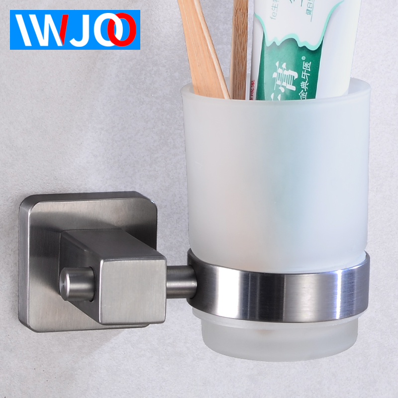 Cup Tumbler Holders Stainless Steel Toothbrush Holder Cup Glass Wall Mounted Bathroom Accessories Toothbrush Holder Set Modern image