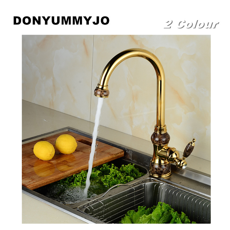 DONYUMMYJO Brass torneira cozinha with Marble kitchen faucet/single handle Gold finish basin sink mixers taps high quality single handle brass hot and cold basin sink kitchen faucet mixer tap with two hose kitchen taps torneira cozinha