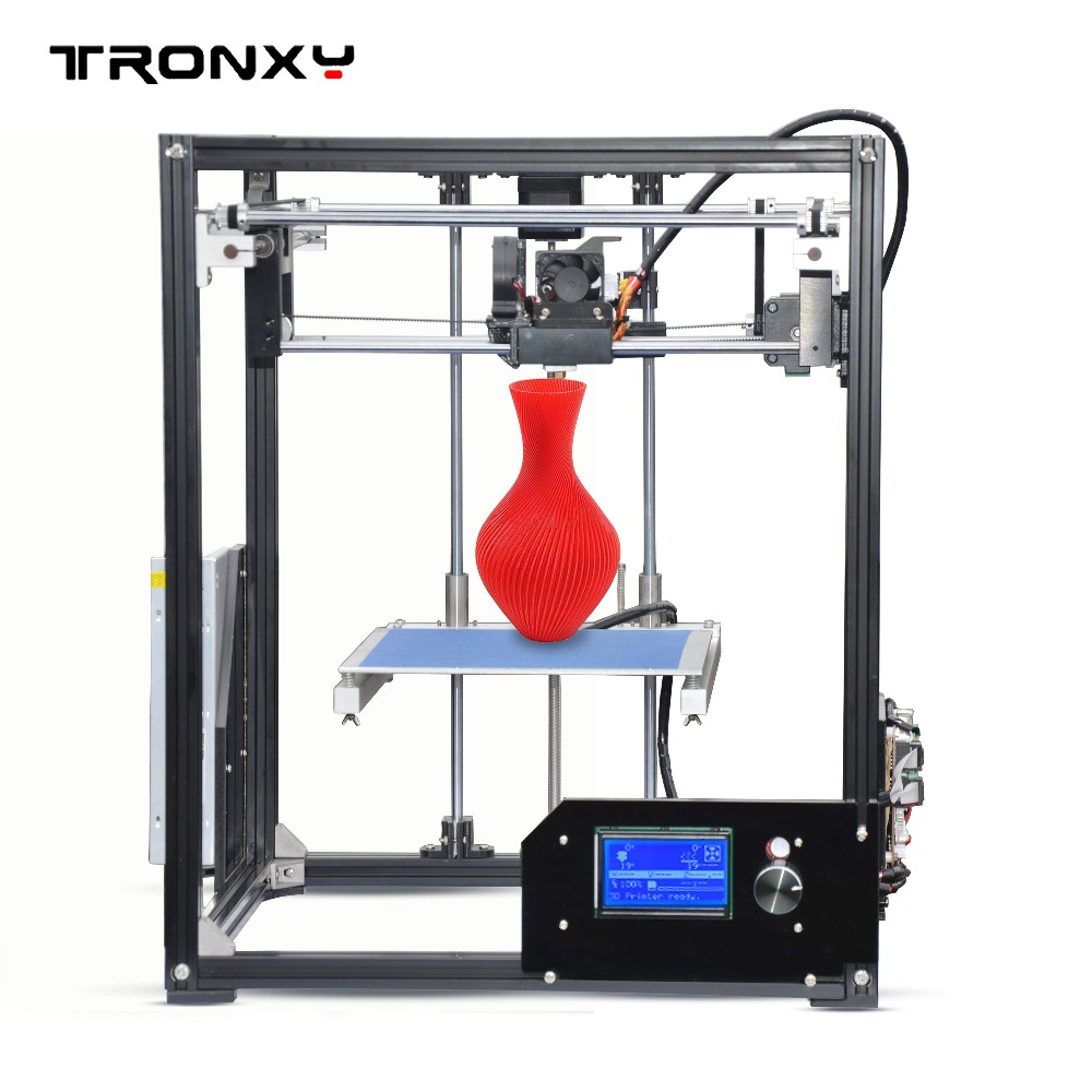 Best Tronxy X5 model aluminium structure 3D Printer DIY full kits impresora 3D printing PLA ABS big print size with 8G SD card best tronxy p802m auto level 3d printer diy full kits direct extruder mk3 heatbed 3d printing 3dcstar p802 mhs