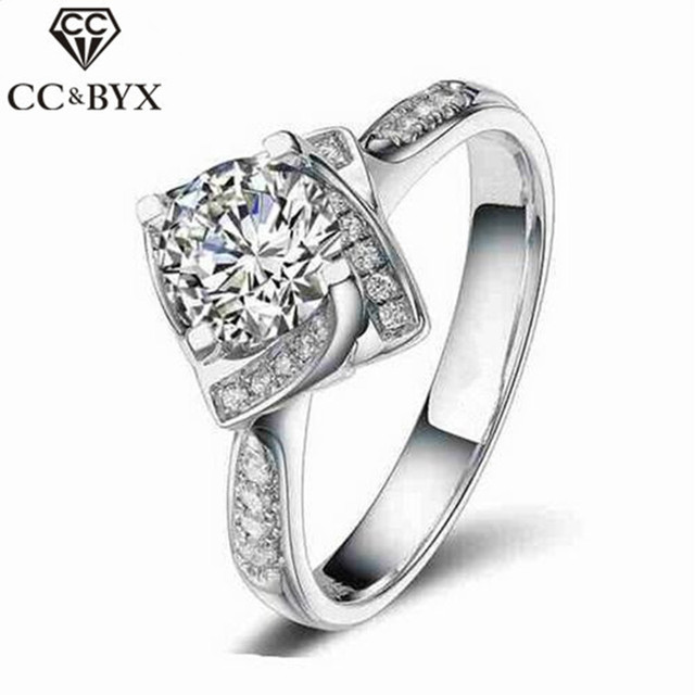 Fashion Jewelry Square Shape Flower Rose Design Wedding Engagement Rings for Women Fine Bijoux Femme Wedding Bands CC095