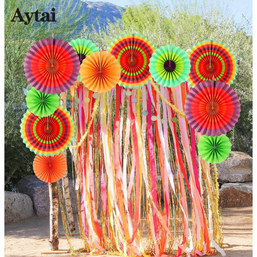 Aytai 12pcs Colorful Paper Fan Mexican Fiesta Party Decorations