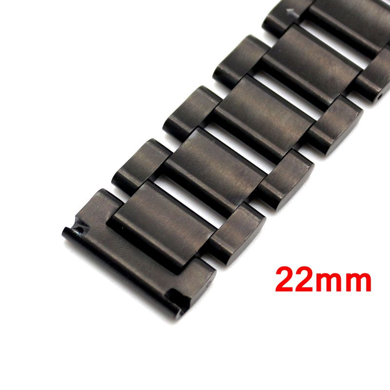 22mm Stainless Steel Band Strap Black Bracelet Solid Links Deployment buckle push Button For Women Men Wrist Watch GD014622