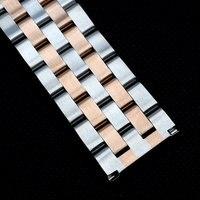 24mm Two Tone Silber Rose Goldene Fünf Wulst Gerade Ended Stahl Uhrenarmband Armband Strap für Armbanduhren Stunden