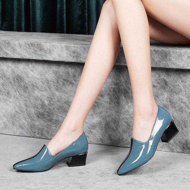MLJUESE 2019 pompe delle donne Della Mucca slip in pelle su colore blu autunno primavera punta a punta scarpe tacchi alti del partito di cerimonia nuziale di formato 34-40