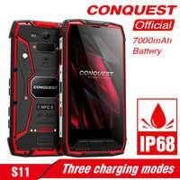 Conquista Original S11 IP68 SmartPhone robusto 16MP 7000mAh 6GB 128GB Octa Core huella dactilar/cara/ID NFC OTG Android Teléfono Móvil