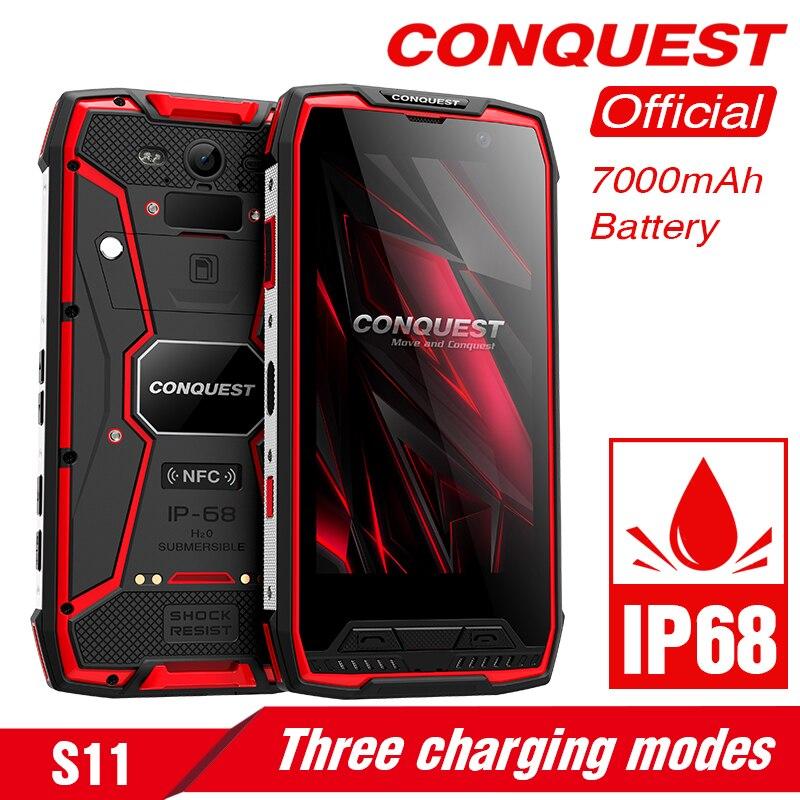 Original conquista s11 ip68 áspero smartphone 16mp 7000 mah 6 gb 128 gb núcleo octa impressão digital/face id nfc otg android telefone móvel