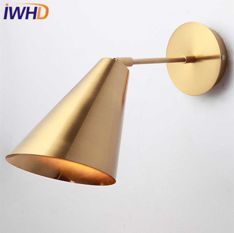 IWHD Copper Nordic LED Wall Lights Iron Creative Wall Lamp Loft Bedside Sconces Fixtures For Home Lighting Arandela Luminaire new modern dia 12cm creative crystal wall sconces round wall lamp fixtures lighting for hallway bathroom bedside lighting wl210