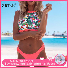 Zrtak Print Bikinis Mujer 2019 Bandeau Bikini Push Up Women Swimsuit String Ruffle Biquinis Feminino Ladies Swimwear Bath Suits