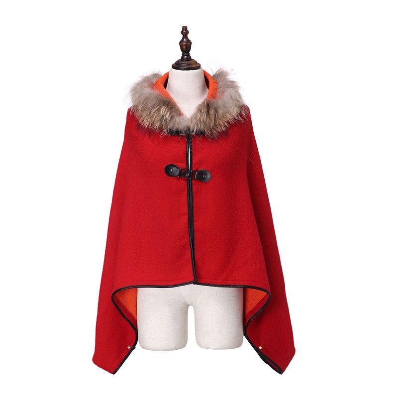 Zy87042 2016 Для женщин пальто кашемир действительно енота меховой воротник Лидер продаж шарф пончо шаль накидка зима обертывания пашмины