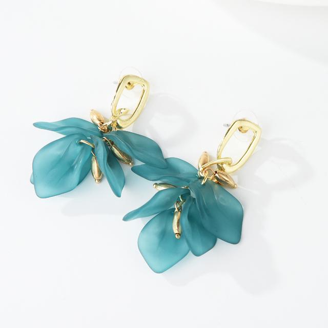 Baby Green Acrylic Leaves Flower Drop Earrings