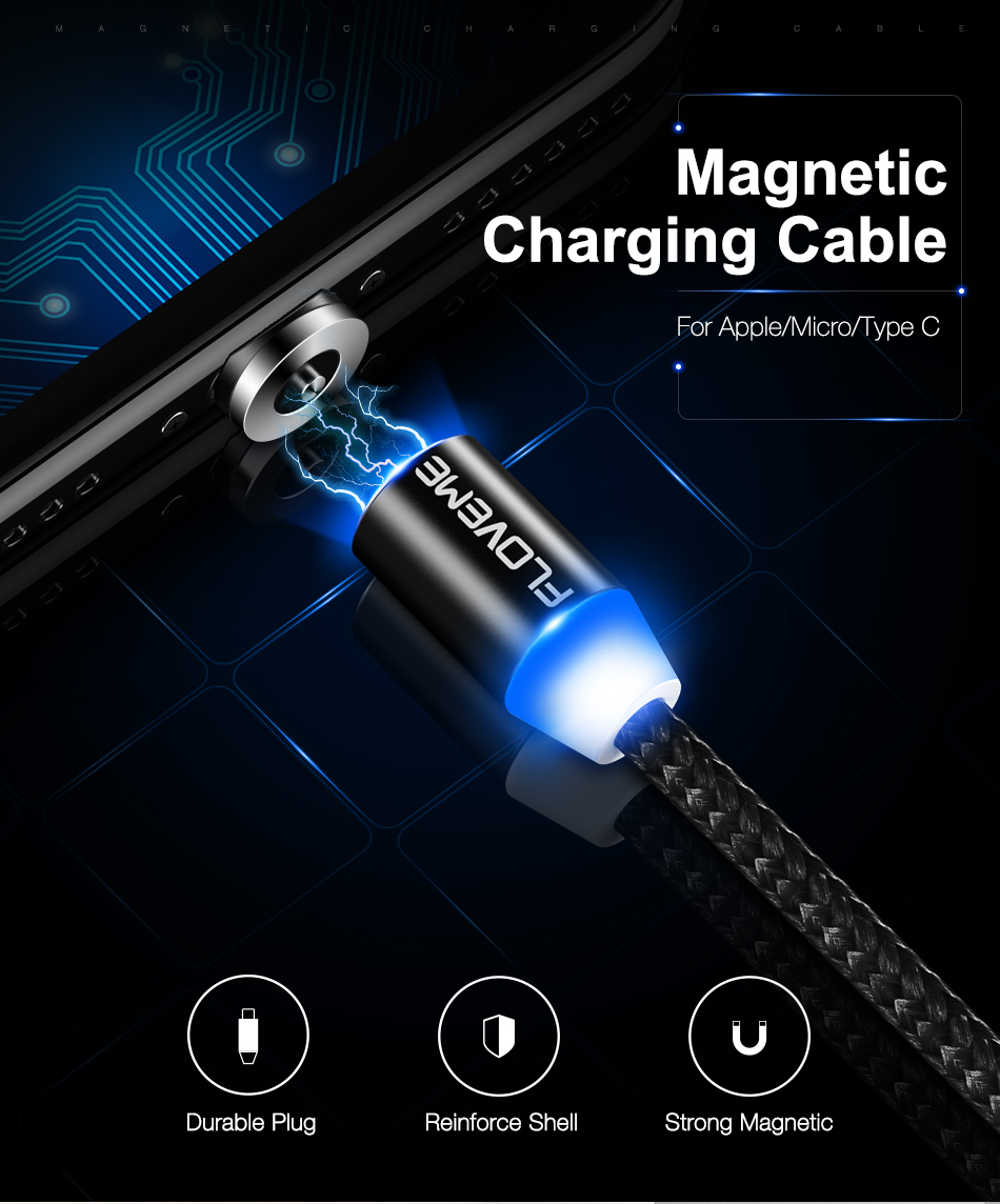 FLOVEME 1M Magnetic Charge Cable , Micro USB Cable For iPhone XR XS Max X Magnet Charger USB Type C Cable LED Charging Wire Cord 1