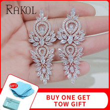 RAKOL Luxury AAA Marquise Cut Cubic Zircon Big Long Dangle Earring For Women Fashion Leaf Bridal Wedding Jewelry Accessory