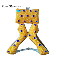 Новый Для женщин желтый жемчужные свадебные туфли с Сумочки в комплекте набор кристалл Для женщин насосы высокая обувь на платформе женска