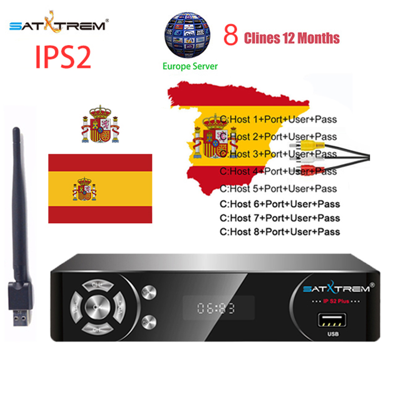 US $36 26 20% OFF|Satxtrem IP S2 NOVA Satellite TV Receiver Receptor IPTV  Decoder DVB S2 With MT7601 USB Wifi 1 Year 8 Lines Cccam Gtmedia TV Box-in