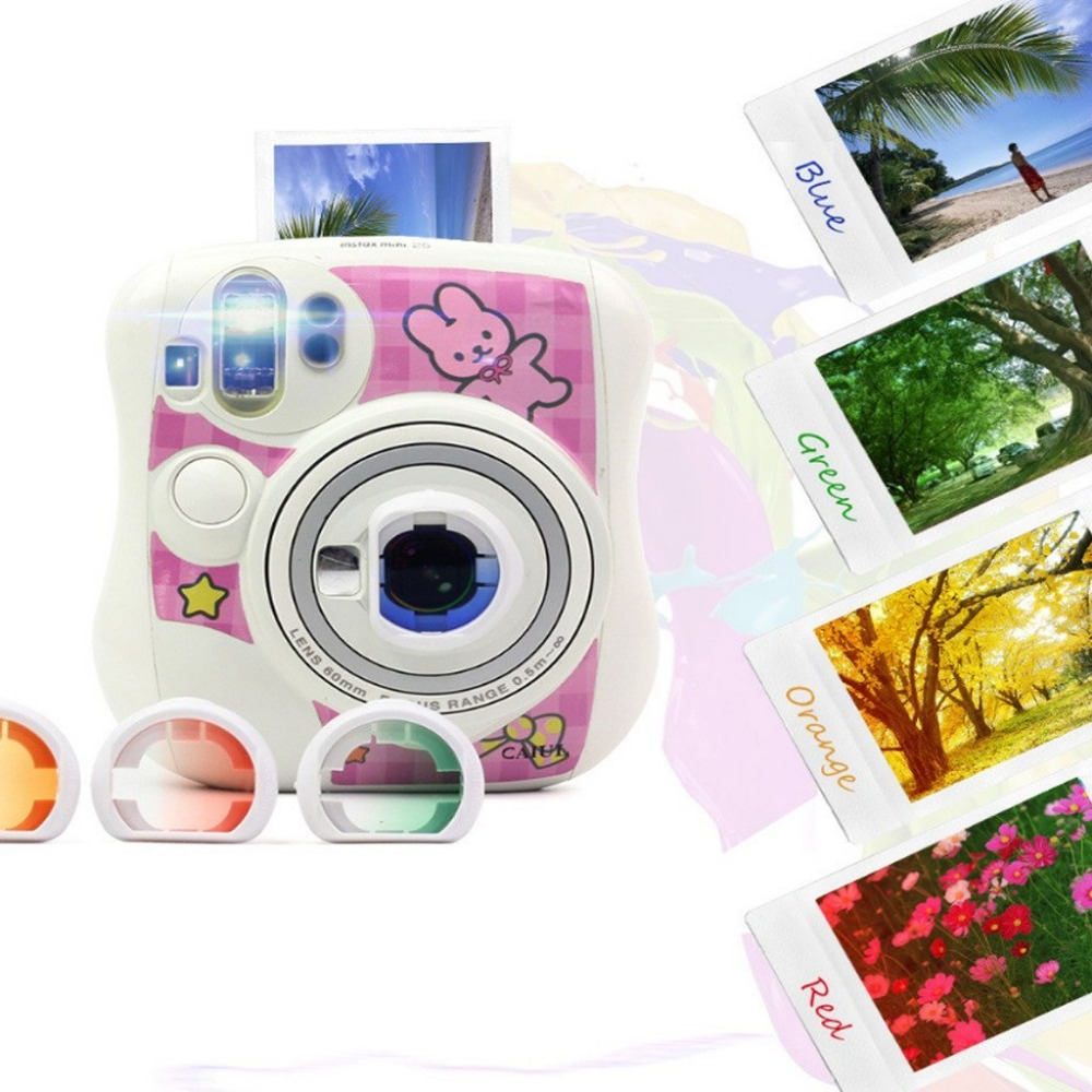 Image 3 - 4pcs/Set Gradient Color Fujifilm Instax Mini 25 Instant Camera Colorful Filters Magic Close Up Lens Camera-in Camera Filters from Consumer Electronics