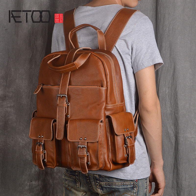 AETOO Shoulder bag leather male head layer leather backpack large capacity travel bag business casual computer backpack new male aetoo shoulder bag male leather backpack student bag fashion business computer bag head layer cowhide men and women backpack