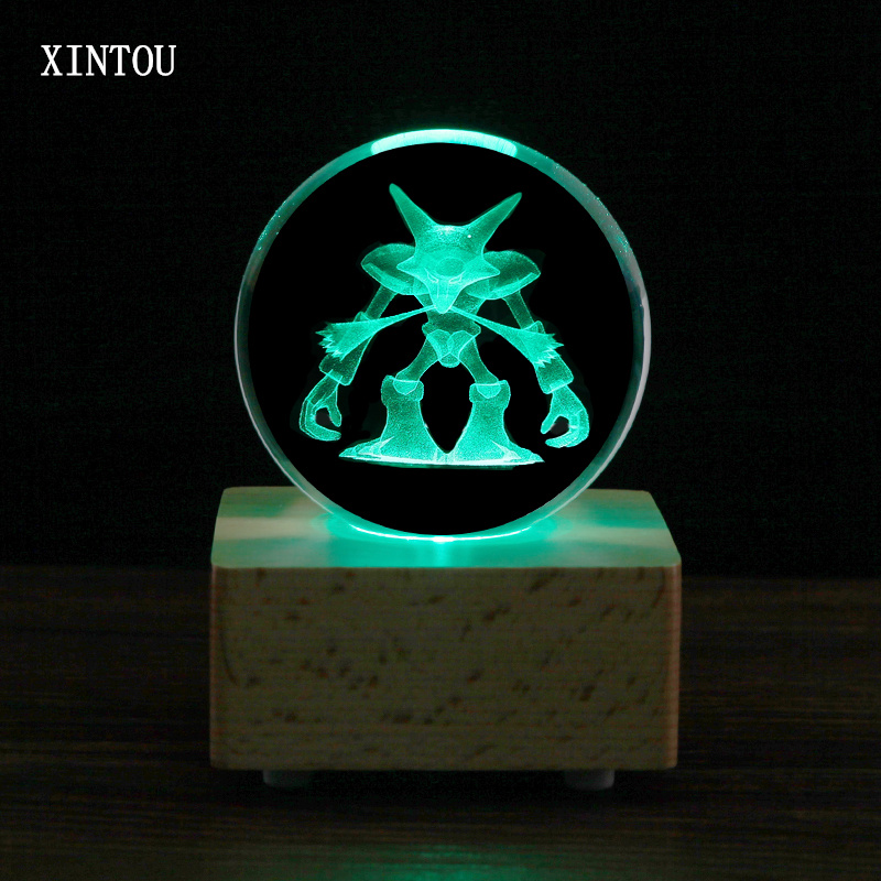 XINTOU 3D Pokemon Terrarium Figurines Laser Engraved Crystal Ball 80mm Wooden Bluetooth Speaker Music Box Fairy DIY Craft Gift