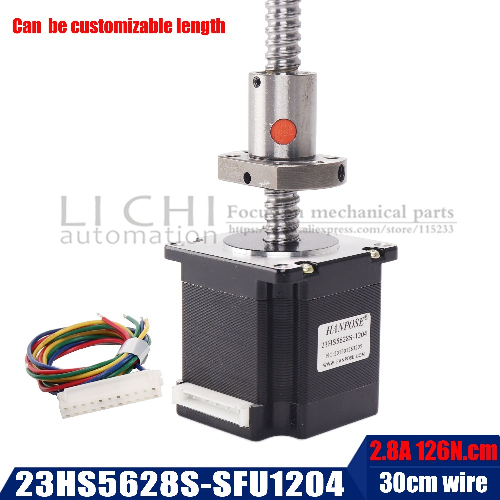 Free shipping Nema 23 Stepper Motor 23hs5628S with RM1204 ball screw length 300MM , 2 phase, 4-Leads 56mm for CNC 3D PrinterFree shipping Nema 23 Stepper Motor 23hs5628S with RM1204 ball screw length 300MM , 2 phase, 4-Leads 56mm for CNC 3D Printer