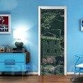 3D наклейки для обновленной двери с принтом  домашний декор  дерево  пейзаж  ПВХ  настенная бумага  самоклеющиеся водонепроницаемые обои
