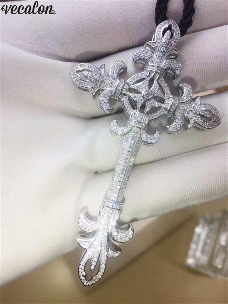 Vecalon Unique Flower Cross Pendant 925 Sterling Silver 5A Cz Stone Cross Pendant Necklace For Women Men Party Wedding Jewelry