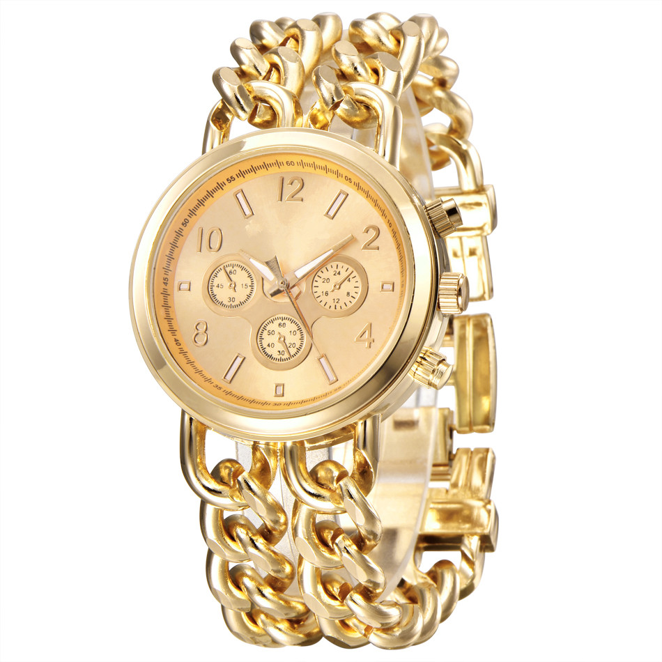 Hot Luxury Brand Watches Women Fashion Bracelet Steel Watch Men Gold Stainless Steel Quartz Wristwatch Montres De Marque De Luxe