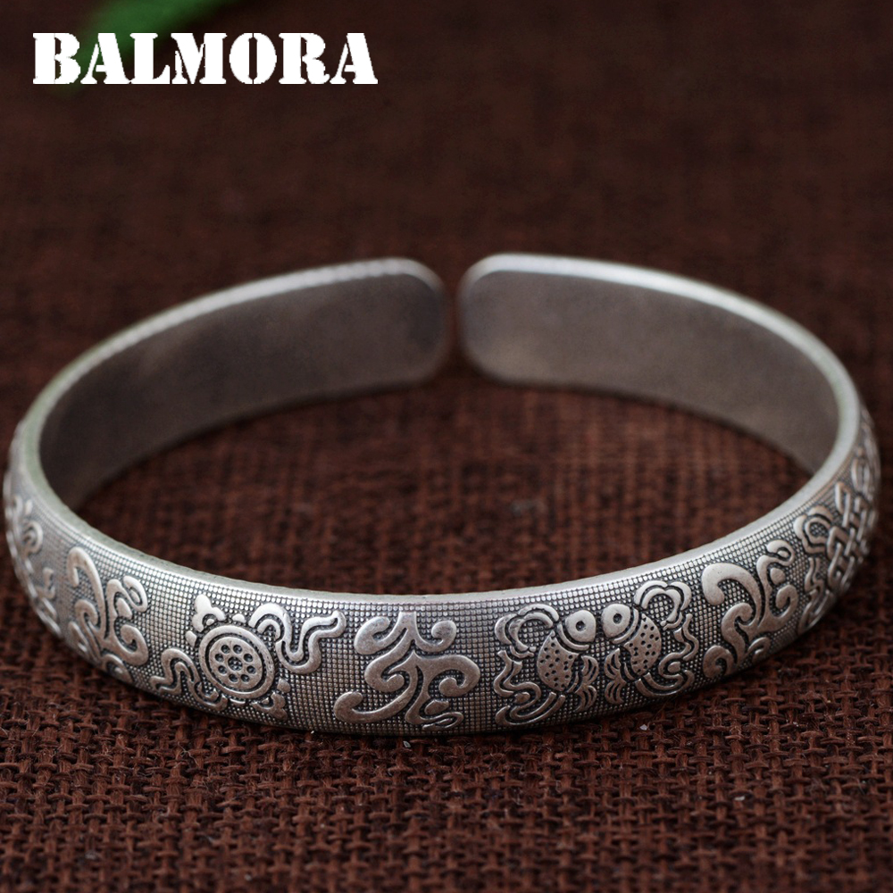 BALMORA 990 Pure Silver Fish Pattern Open Bangles for Women Men about 18cm Bracelet Buddhistic Silver Jewelry Pulsera SZ0494 about me fish