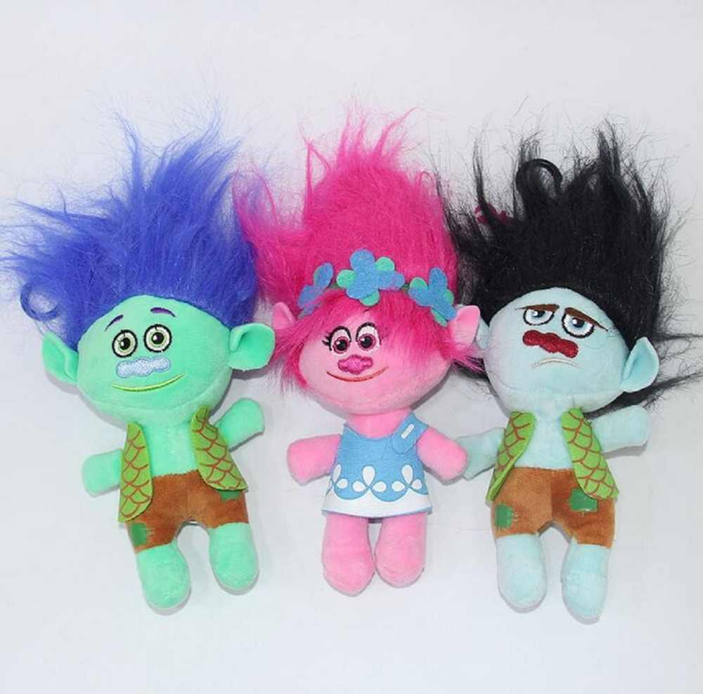 NEW Arrival 23cm Movie Trolls Plush Doll The Good Luck Trolls Poppy Branch DreamWork Toy Gifts Magic Fairy Hair Wizard Kids Toys