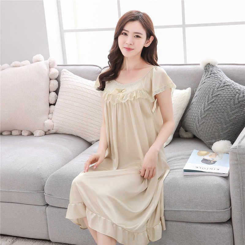 ba2ccd707e 2018 Summer sexy lady ice silk long sleep skirt women short sleeves  nightdress Young girl home