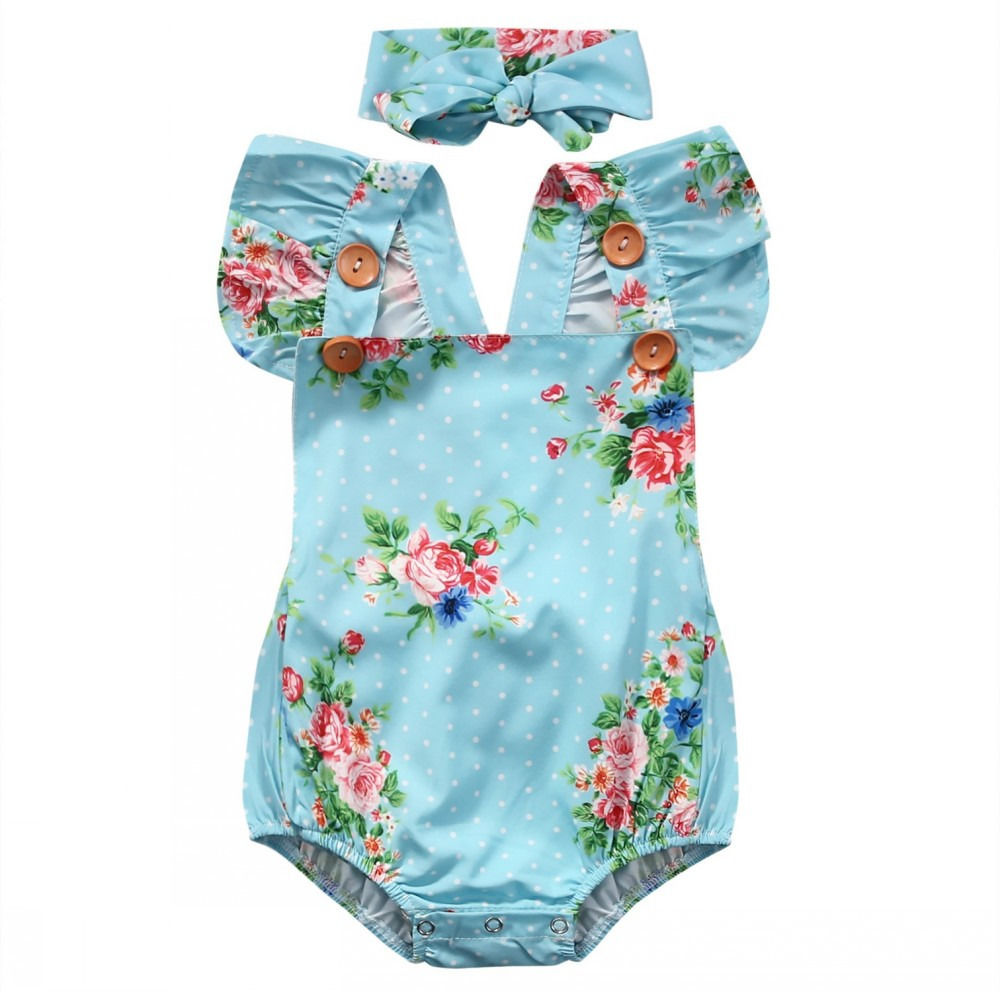 Cute Baby Girls Floral Cotton Fly Sleeve Romper One-piece Sunsuit Headband Bule Clothes Set