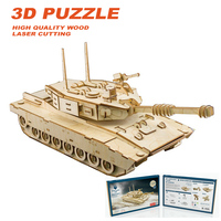 DIY Laser Cutting 3D M1 abrams tank Wooden Puzzles Learning Educational Toy Game Assembly Toys for Children Jigsaw Kids Toys