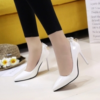 2018 spring and autumn new women's single shoes Korean fashion pointed high heels wild shallow mouth bow women's shoes [category]