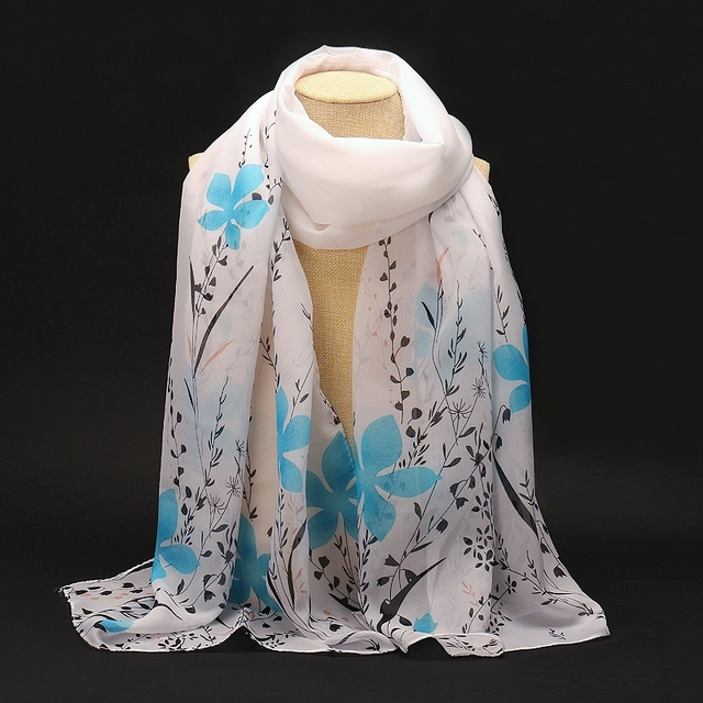 Flowers Field Chiffon Scarf | Lightweight Scarves | Up to 60% Off Now