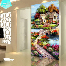 PSHINY 5D DIY Diamond embroidery Garden landscape pictures Home Decor Full Mosaic Resin round rhinestone Painting cross stich