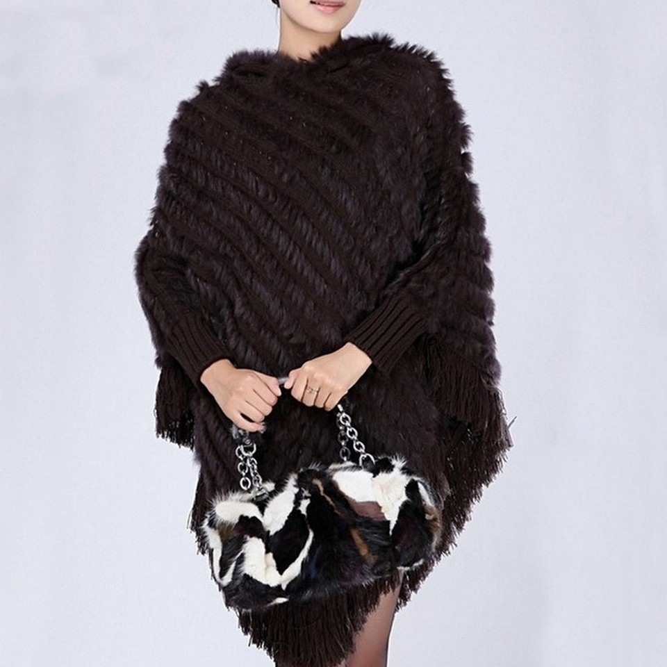 FXFURS Knitted Rabbit Fur Poncho Hooded Fashion Woolen Shawl Fashion Hoody with Tassels Casual Wrap with
