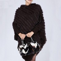 FXFURS Knitted Rabbit Fur Poncho Hooded Fashion Woolen Shawl Fashion Hoody with Tassels Casual Wrap with Sleeves Fur Cape