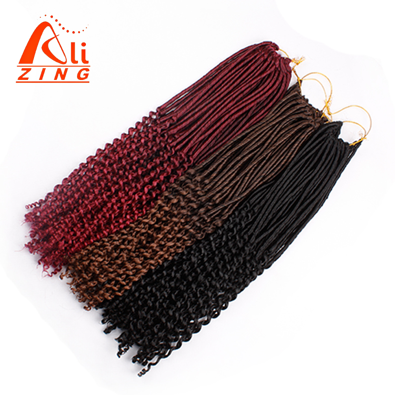 "Alizing 24 Root 20"" Black Soft Faux Locs Crochet Hair Bundles Curly Ends Synthetic Crochet Braids Hair Extension Flame Retardant"