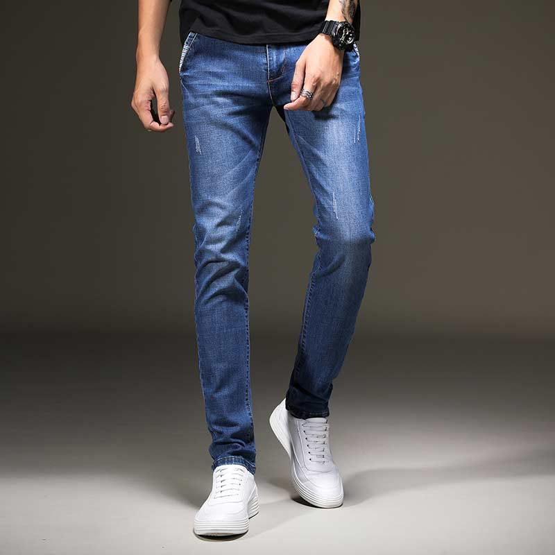 High Quality Men's Slim Pencil Jeans Washed Blue Slim Male Cowboy Denim Pants Fashion Trousers Autumn 2017 jeans men s blue slim fit fashion denim pencil pant high quality hole brand youth pop male cotton casual trousers pant gent life