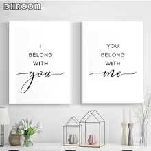 I Belong with You Me Wall Art Wedding Gift Poster Couple Canvas Print Painting Nordic Minimalist Bedroom Decor